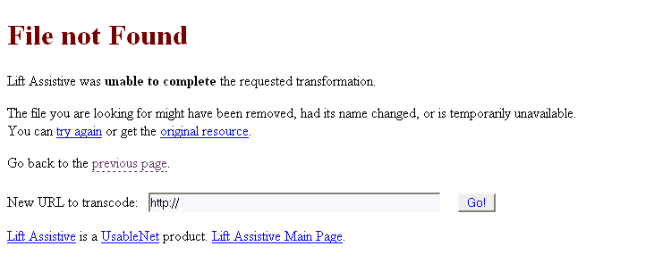 Screenshot showing the file not found (404) error message