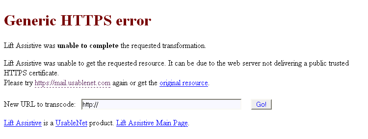 Screenshot showing the Usablenet Assistive generic HTTPS error